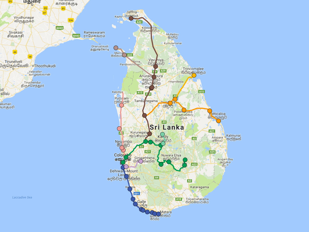 Sri Lanka Railway Networks Map